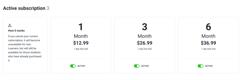 Deactivate your current subscriptions by switching a toggler